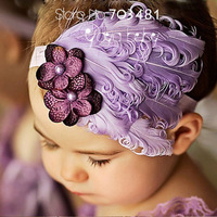 wholesale 2013 Fashion Hot Infant Baby Toddler Feather flower pearl Headband Soft Headwear Hair Band free shipping HAF07