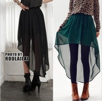 2013 new fashion womens sexy single irregular chiffon perspective transparent asymmetrical skirt  skirts