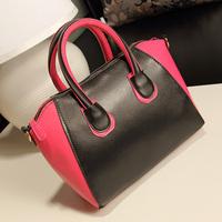 Free shipping Fashion classic zipper style color block smiley bag portable women's handbag messenger bag