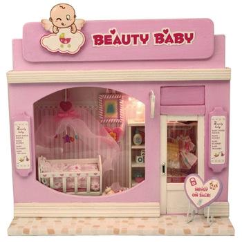 Free Shipping Kids 3D Assembling DIY mini European shop beauty baby toys small model doll house
