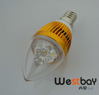Free Shipping Led Candle Blub 1PCS 3W with Golden Shell 2 Years Quality Warranty