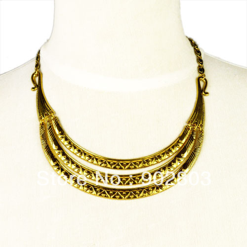 Min.order is $15 Free shipping ,Hot selling vintage style golden color ancient design metal jewelry collar necklace ,NL-1809(China (Mainland))