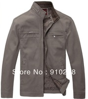 Free shipping 2013 men's top spring and autumn pure cotton-padded coat Quinquagenarian men's clothing jacket  M-4XL