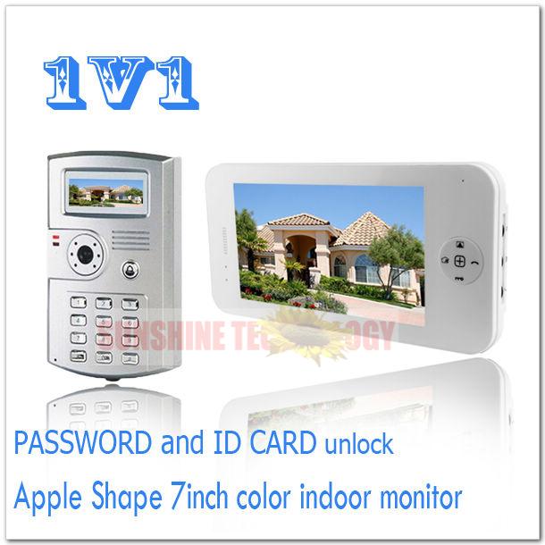 PASSWORD and ID CARD unlock color video door phones/video intercom systems/door bells Drop shipping (1 monitor add 1 camera)(China (Mainland))