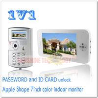 PASSWORD and ID CARD unlock color video door phones/video intercom systems/door bells Drop shipping (1 monitor add 1 camera)