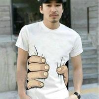 Summer Short Sleeve T-shirt 2013 New Funny Man Novelty  Personalized Designer Shirt Hand Catch Body Print Tees 211 Free Shipping