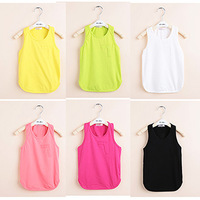 Children's clothing female child summer solid color 2013 7 long design spaghetti strap vest 0524-z93