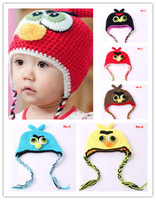 On Sale! Baby Autumn & Winter Bomber Hat Kids Knitted Ear Muff Cap Baby Crochet Ear Hat Cute Birds Free Shipping