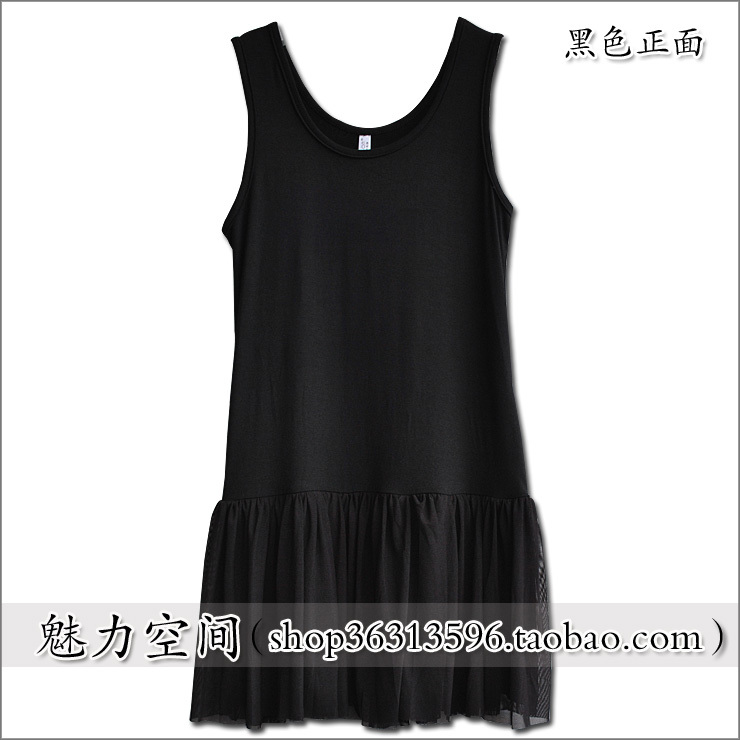 Autumn and winter female gauze modal cotton puff skirt spaghetti strap basic tank dress one-piece dress basic slip(China (Mainland))