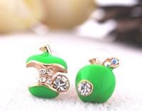 50pcs/lot Wholesale (Red\Green) Rhinestone Apple Earrings jewelry  2013 women Promotion Bijouterie Gift  Free shipping