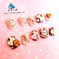 New Arrivals Japanese Kawaii Short Design chocolate bear 3d Nails/False Nails/Fake Nail/Nail Tips,24 pcs,Free Shipping
