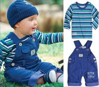 SXT041,5 sets/lot Freeshipping brand baby clothing set boys striped 2 pcs suit t-shirt+overalls autumn infant garment Wholesale