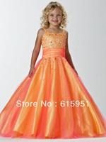 New Arrival Spaghetti Strap Beaded Floor Length Orange Cute Pageant Dress For Little Girls JY2187