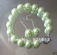 "Beautiful 14mm Green Shell Pearl Bracelet Earring 7.5""Fashion jewelry"
