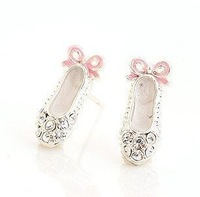 50pcs/lot Wholesale Fashion full drill ballet shoes ear stud earrings 2013 women Promotion Bijouterie Gift Free shipping
