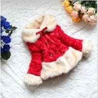 Retail 1 pcs children spring winter faux fur coat outerwear fur collar fleece lining jackets for girls warm Fashion CCC001