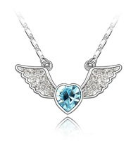 Free Shipping, 2013 Fashion Jewelry  Sweet Rhinestone Decorated Heart Wing Pendant Women's Necklace Birthday Gift