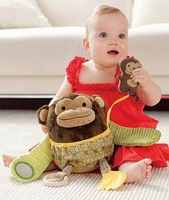 Wholesale Retail Multifunction Plush Toys Animals Monkey soothe baby dolls early development toy Free Shipping