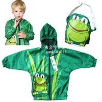 1PCS new autumn 2013 boys jackets cartoon frog hooded cardigan coat children Windproof /Rainproof /Sun protective clothing 3/4/5