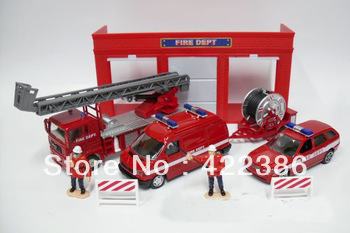 Engineering car set line fire truck ladder police car three pieces set 1110 - 01(China (Mainland))