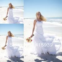 Free shipping shoulder straps sleeveless wedding dress for beach wedding HS049