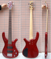 Electric bass guitar ,red 5string bass guitar.passive pickup.high quality musical insturment free shipping