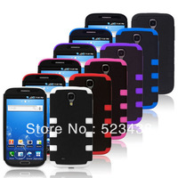 Hybrid PC + Silicone Back Case Gear Pattern Hard Cover Skin Protector for Samsung Galaxy S4 I9500 50pcs