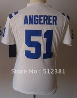 Free shipping!American Football jersey #51 Pat Angerer white 2013 women jersey name number all STITCHED(sewn on)