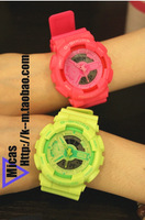 beautiful G shors lovers design street neon candy color electronic led double plastic sheet shock3 watch