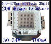 20W Blue LED  Free shipping 20W Epileds 38mil 300-400LM  460-470nm Blue High power LED 5pcs/lot