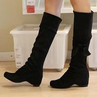 2013 elastic velvet bow elevator high-leg boots wedges boots shoes martin boots plus size