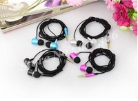 50pcs Metal Earphone 3.5mm interface earphone Candy Bass earphone 5 colors Fashion Classic model free shipping