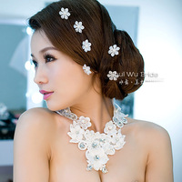 Free Shipping! 2013 New Fashion Handmade  Luxury Lace And Rhinestone Vintage Necklace Earring Bracelet Set Wedding Jewelry XL081