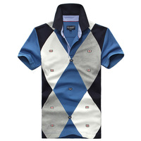 Fashion 2013 men's clothing male 100% cotton slim fashion embroidery short-sleeve polo shirt