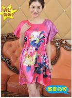 Free shipping sweet imitation silk satin robes short-sleeve nightgown summer home dress sleepwear