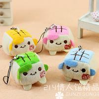 Special 4cm cartoon mini tofu bag mobile phone pendant chain plush accessories stuffed toy activity award gift wholesale 10 pcs
