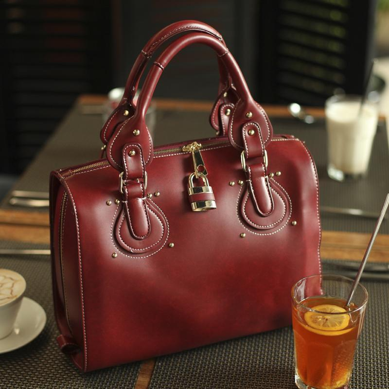 Namoo 2012 women's handbag multi-purpose bag autumn and winter fashion BOSS vintage rivets big lock bag(China (Mainland))