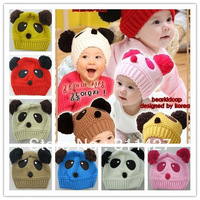 promotion ! Panda shaped Lovely Boy girl Hats winter baby hat Knitted caps children Keep warm hat 6 color gifts CH005