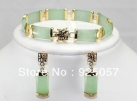 "hot! noble natural jade link bracelet ( 7.5 "") + earrings Fashion jewelry"
