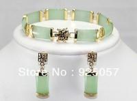 "hot! noble natural jade link bracelet ( 7.5 "") + earrings Fashion jewelry"