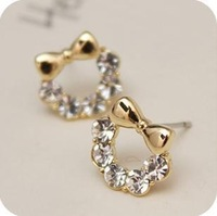 100pcs/lot Wholesale Fashion Bow Rhinestone Earrings 2013 women Promotion Bijouterie Gift Free shipping