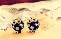 100pcs/lot Wholesale Fashion Retro Cute Black Owl Earrings 2013 women Promotion Bijouterie Gift Free shipping