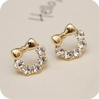 50pcs/lot Wholesale Fashion Bow Rhinestone Earrings 2013 women Promotion Bijouterie Gift Free shipping