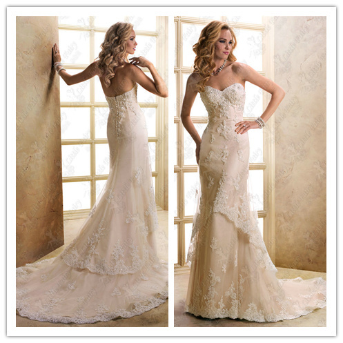 Wedding dress train quality embroidery lace wedding dress slim princess tube top fish tail slim floor length lace bridal gowns(China (Mainland))