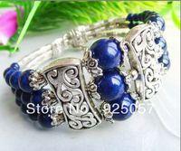 3RowsTribal Jewelry Tibet Silver Lapis Lazuli Bracelet Fashion jewelry