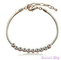 Wholesale Free Shipping Exquisite Ball Anklet Bracelet with Genuine SWA Elements Austrian Crystals A007