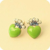 50pcs/lot Wholesale lovelyenamel peach heart crown stud earrings 2013 women Promotion Bijouterie Gift Free shipping