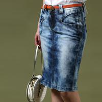 Free shipping 2014 women's formal elegant ol slim hip water wash vintage denim skirt