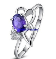 Free shipping Amethyst ring Natural amethyst 925 sterling silver plated 18k white gold Purple flower gems finger jewels