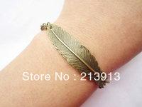 FREE SHIPPING  Wholesale 50pcs bracelet---antique bronze feather pendant&alloy chain